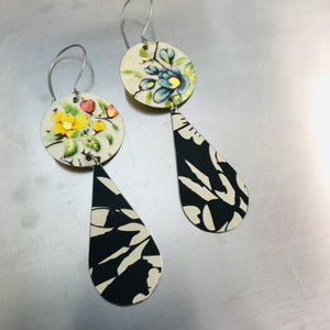Vintage Flowers and Black Tin Long Teardrops Earrings