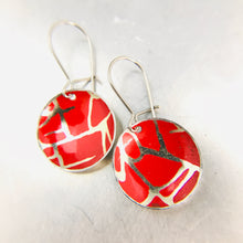 Load image into Gallery viewer, Scarlet with Golden Crackle Tiny Dot Tin Earrings