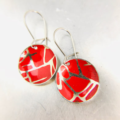 Scarlet with Golden Crackle Tiny Dot Tin Earrings