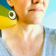 Load image into Gallery viewer, Encircled Blue-Gray in White Upcycled Tin Earrings