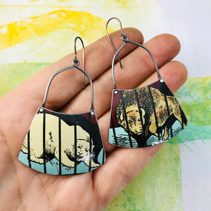 Polar Bear & Buffalo Zero Waste Tin Earrings