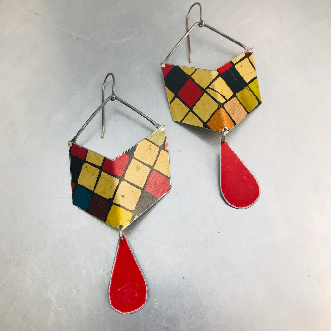 Rubik's Chevron Dangles Recycled Tin Earrings
