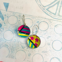 Load image into Gallery viewer, Bright Patterns Hot Pink, Yellow, Teal Upcycled Tiny Dot Earrings