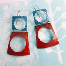 Load image into Gallery viewer, Rustic Scarlet and Sky Upcycled Tin Earrings
