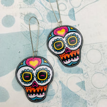 Load image into Gallery viewer, Smaller Sugar Skulls Upcycled Tin Earrings