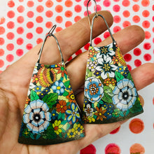 Load image into Gallery viewer, Allover Flowers Upcycled Vintage Tin Earrings