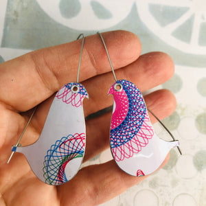 Spirograph 2 Birds on a Wire Upcycled Tin Earrings