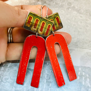 Vintage Circus Border Scarlet Arch Zero Waste Tin Earrings