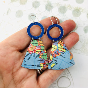 African Continent Small Fans Zero Waste Tin Earrings