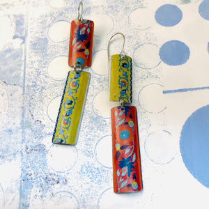 Mixed Pattern Edge Recycled Tin Earrings