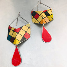Load image into Gallery viewer, Rubik's Chevron Dangles Recycled Tin Earrings