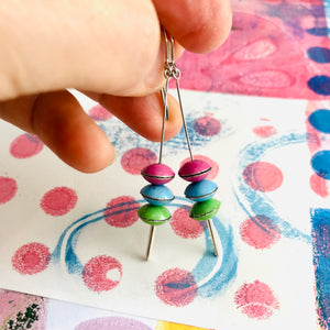 Pink, Sky, Grass Tiny Macarons Tin Earrings