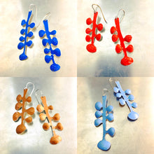 Load image into Gallery viewer, Cornflower Blue Matisse Leaves Upcyled Tin Earrings