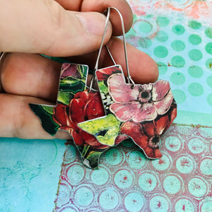 English Garden Upcycled Tin Earrings
