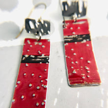 Load image into Gallery viewer, Deep Red & Midnight Recycled Tin Earrings