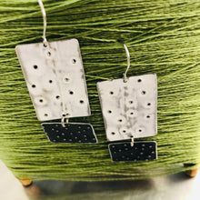 Load image into Gallery viewer, Pooling White & Midnight Recycled Tin Earrings 30th Birthday Gift