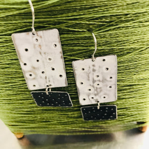 Pooling White & Midnight Recycled Tin Earrings 30th Birthday Gift