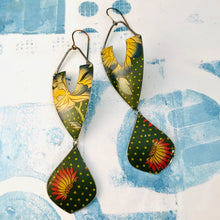 Load image into Gallery viewer, Blue Tipped Blossoms on Polka Dots Zero Waste Earrings