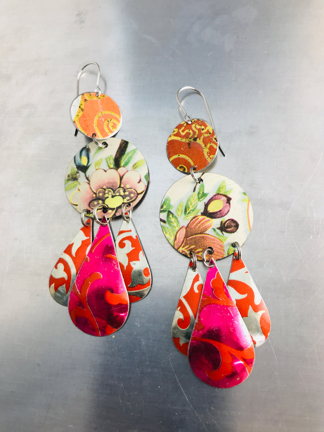 Mixed Vintage Pinks & Oranges Zero Waste Tin Chandelier Earrings