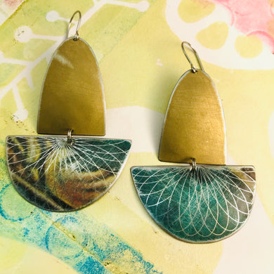 Matte Gold and Forest Spirograph Upcycled Tin Boat Earrings
