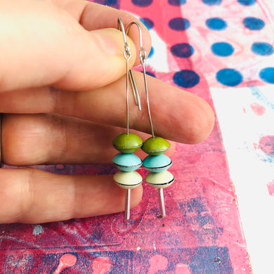 Green Olive, Aqua, Vanilla Tiny Macarons Tin Earrings