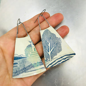Pagoda and Japanese Tree Upcycled Vintage Tin Long Fans Earrings