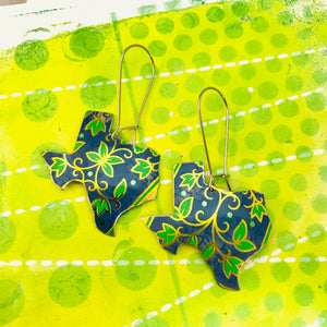 Vintage Blue & Green Leaves Upcycled Tin Earrings