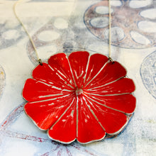 Load image into Gallery viewer, Bright Red Flower Blossom Upcycled Tin Necklace