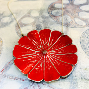 Bright Red Flower Blossom Upcycled Tin Necklace