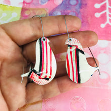 Load image into Gallery viewer, Candy Striped Birds on a Wire Upcycled Tin Earrings