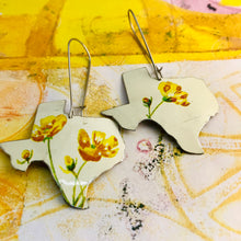 Load image into Gallery viewer, Yellow Wildflowers on White Texas Upcycled Tin Earrings