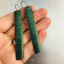 Load image into Gallery viewer, Etched Shimmery Forest Long Narrow Tin Earrings