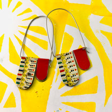 Load image into Gallery viewer, Mosaic Dots & Red Arch Dangle Tin Earrings