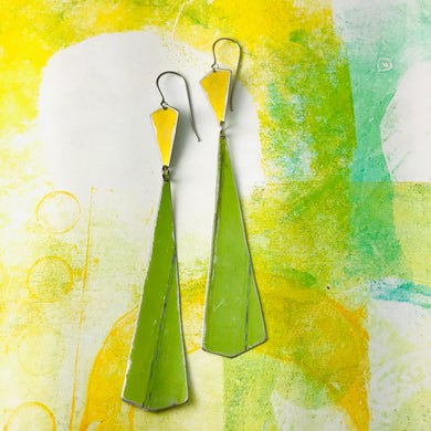Gold & Long Green Narrow Kites Recycled Tin Earrings