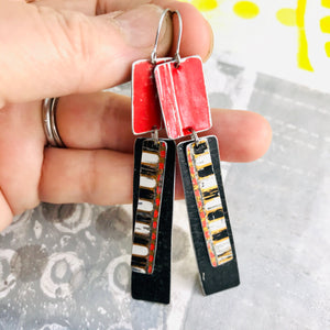 Scarlet & Midnight Recycled Tin Rectangles Earrings