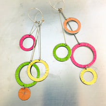 Load image into Gallery viewer, Starburst Rings in Mixed Brights Upcycled Tin Earrings