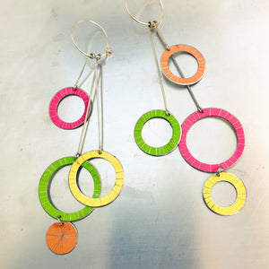 Starburst Rings in Mixed Brights Upcycled Tin Earrings