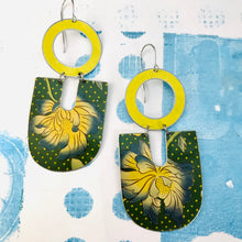 Load image into Gallery viewer, Big Blue Tipped Blossoms Chunky Horseshoes Zero Waste Tin Earrings
