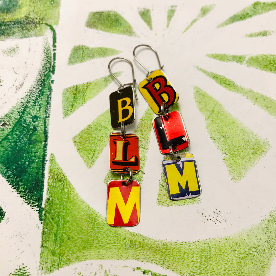 #BLM Upcycled Tiny Typography Earrings