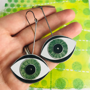 Protective Green Eye Upcycled Tin Earrings