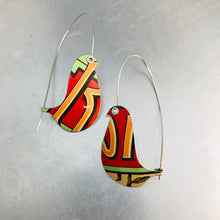 Load image into Gallery viewer, Red Roma Birds on a Wire Upcycled Tin Earrings