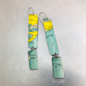 Vintage Globe Upcycled Long Rectangle Tin Earrings