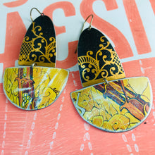 Load image into Gallery viewer, Black and Golds Upcycled Tin Boat Earrings