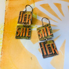 Load image into Gallery viewer, Vintage Orange Her She Recycled Tin Earrings