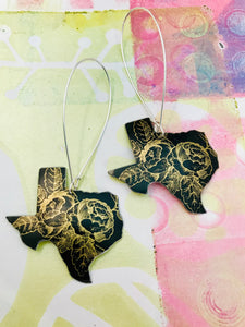 Golden Roses on Midnight Texas Upcycled Tin Earrings