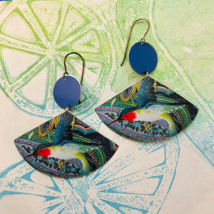 Ruby Throated Hummingbirds Upcycled Tin Earrings