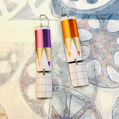 Colored Pencils & Graph Paper Rounded Rectangles Zero Waste Tin Earrings