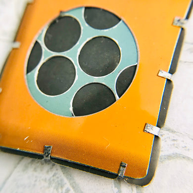 Encircled Persimmon & Matte Aqua Upcycled Tin Brooch