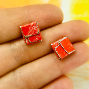 Red & Silver Folded Square Upcycled Tin Post Earrings