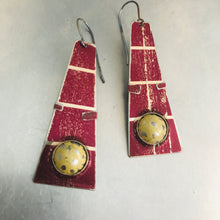 Load image into Gallery viewer, Rustic Moons Set in Shimmery Maroon Zero Waste Tin Earrings